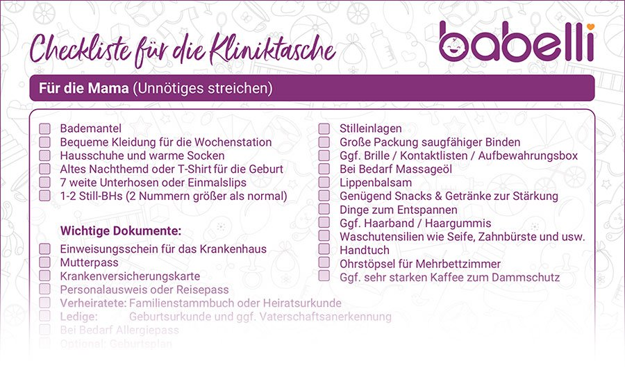 Checkliste: Kliniktasche zur Geburt downloaden