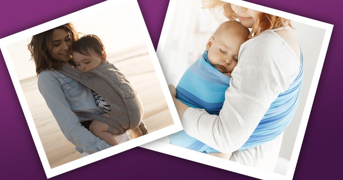 Tragetuch oder Babytrage: zwei Mütter mit unterschiedlichen Tragehilfen