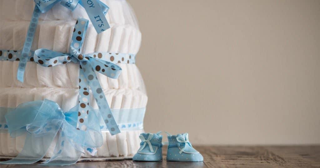 Geschenk zur Geburt: Windeltorte
