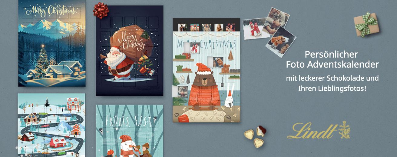 Personalisierter Adventskalender für Kinder und Erwachsene: Fotoadventskalender mit Lindt Schokolade