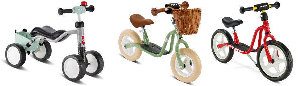 Puky Laufräder: klassisches Design mit tiefem Einstieg und Trittbrett