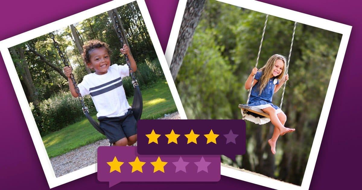 Kinderschaukel: Junge auf einer flexiblen Schaukel und Mädchen auf Brettschaukel