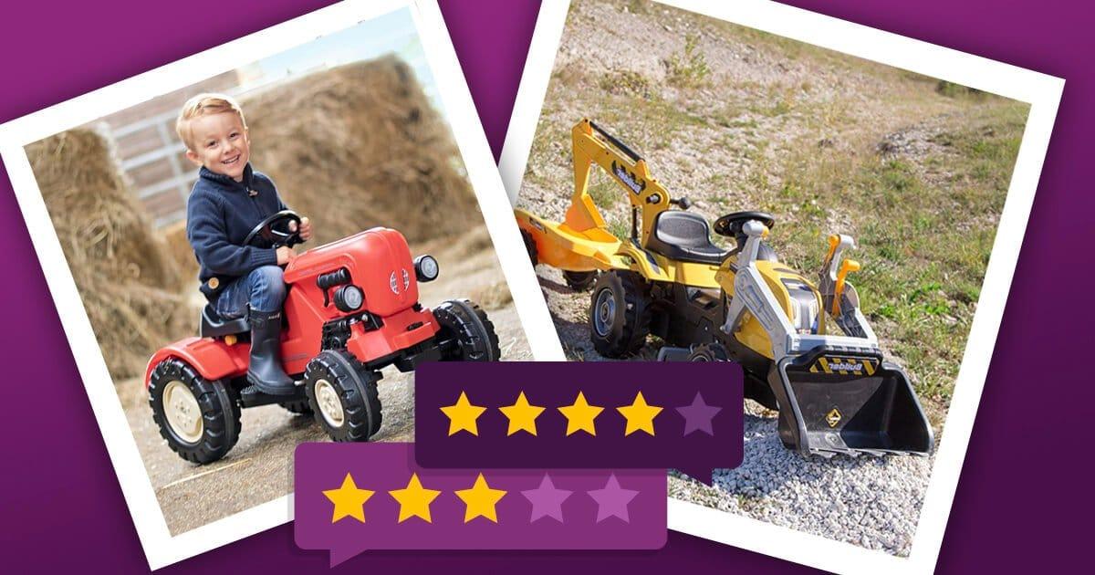 Trettraktor für Kinder: roter BIG Traktor und gelber Smoby Kindertrettraktor