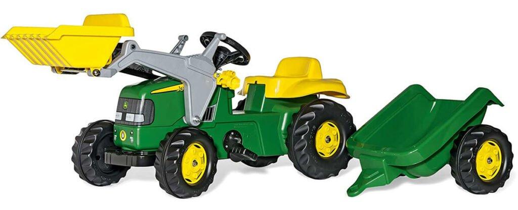 Rolly Toys John Deere Trettraktor Kinder in grün mit Frontlader und Anhänger