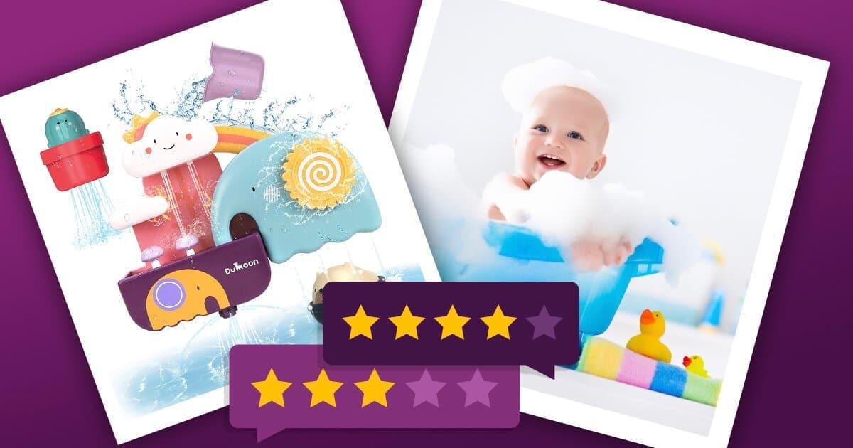 Badespielzeug & Baby in der Wanne mit Spielzeug