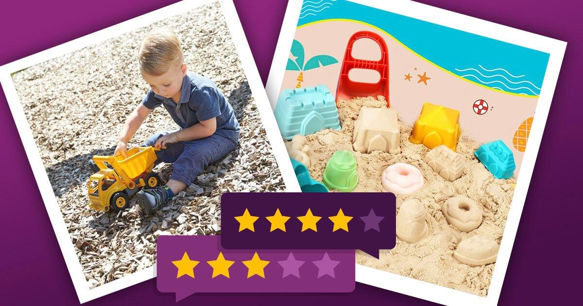 Sandspielzeug Bagger und Auswahl von Buddelsachen
