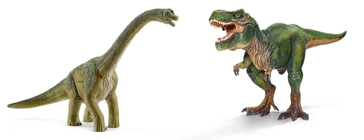 Brachiosaurus und T-Rex Figuren