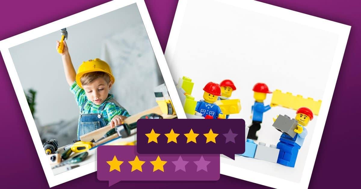 Konstruktionsspielzeug: Kind mit Konstruktonsset und Lego Steine