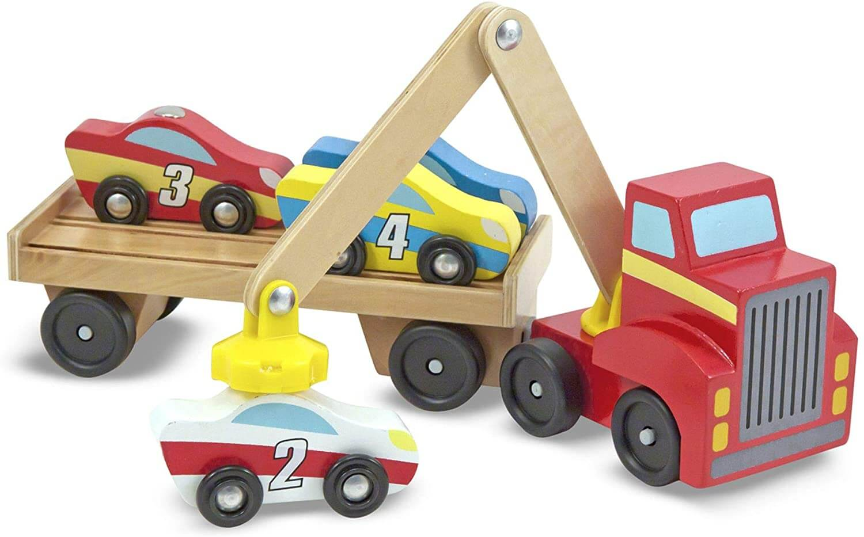 Melissa & Doug Holz Spielzeugautos und Verladekran